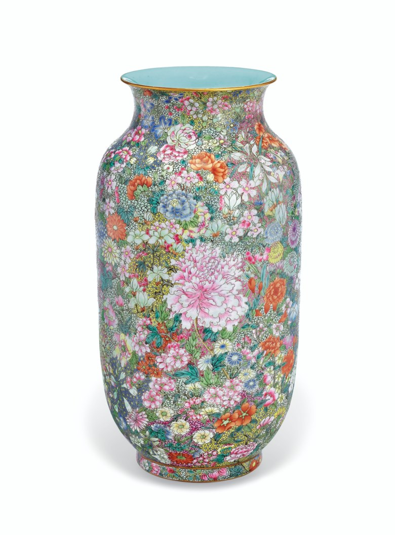 A famille rose mille fleurs lantern vase, Jiaqing  iron-red six-character seal mark and of the period (1796-1820). Sold for $879,000 on 13 September 2019 at Christie's in New York