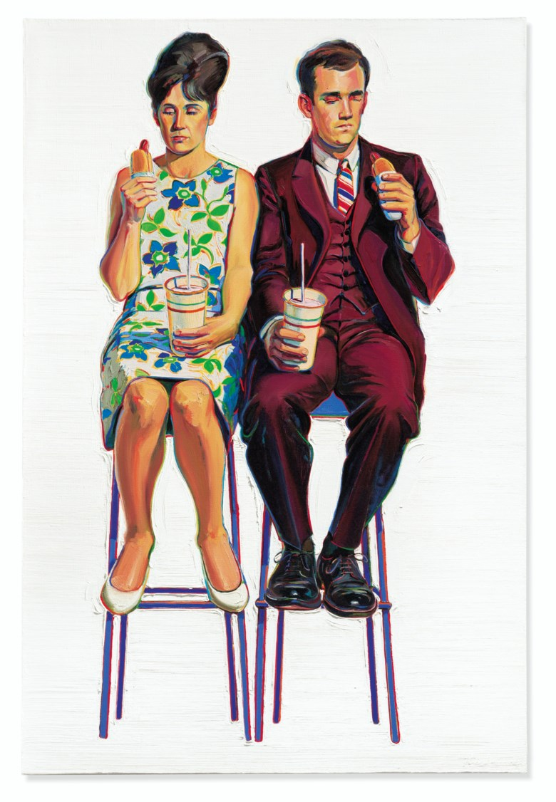 Wayne Thiebaud (b. 1920), Eating Figures (Quick Snack), 1963. 71 ½ x 47 ½  in (181.6 x 120.6  cm). Estimate $4,000,000-6,000,000. Offered in Post-War and Contemporary Art Evening Sale on 15 May 2019 at Christie's in New York © 2019 Wayne Thiebaud  Licensed by VAGA at Artists Rights Society (ARS), NY