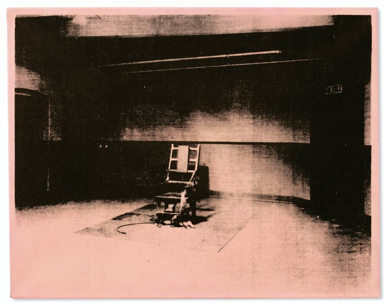 Andy Warhol (1928-1987), Little Electric Chair, painted in 1964-1965. Acrylic and silkscreen ink on linen. 22 x 28  in (55.9 x 71.1  cm). Sold for $8,220,000 in the Post-War and Contemporary Art Evening Sale on 15 May 2019 at Christie's in New York © 2019 The Andy Warhol Foundation for the Visual Arts, Inc.  Licensed by Artists Rights Society (ARS)