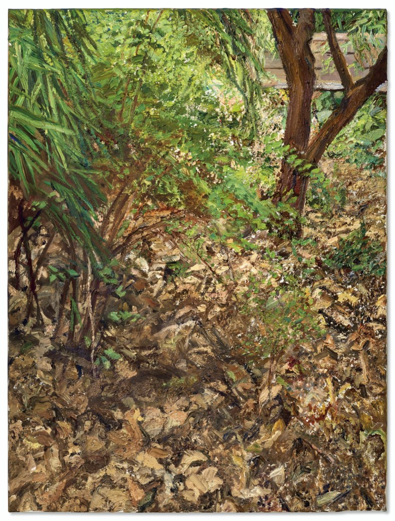 Lucian Freud (1922-2011), Painters Garden, 2003. Oil on canvas. 24⅛ x 18⅛  in (61.3 x 46  cm). Sold for $5,950,000 in the Post-War and Contemporary Art Evening Sale on 15 May 2019 at Christie's in New York © Lucian Freud Archive  Bridgeman Images