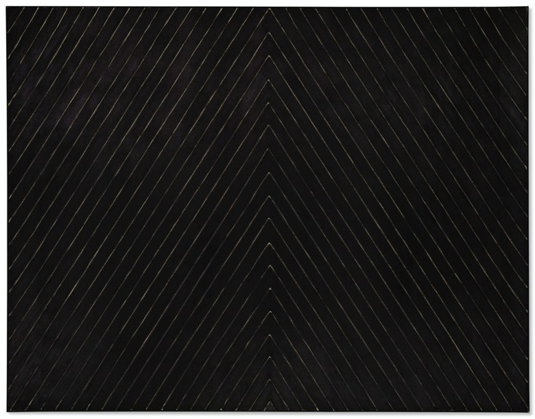 Frank Stella (b. 1936), Point of Pines, 1959. Enamel on canvas. 84⅞ x 109½  in (215.5 x 278.1  cm). Estimate $25,000,000-35,000,000. Offered in Post-War and Contemporary Art Evening Sale on 15 May 2019 at Christie's in New York