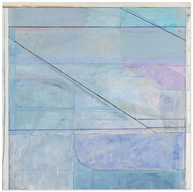 Richard Diebenkorn (1922-1993), Ocean Park #114, 1979. Oil on canvas. 81 x 81  in (205.7 x 205.7  cm). Estimate $12,000,000-18,000,000. Offered in Post-War and Contemporary Art Evening Sale on 15 May 2019 at Christie's in New York