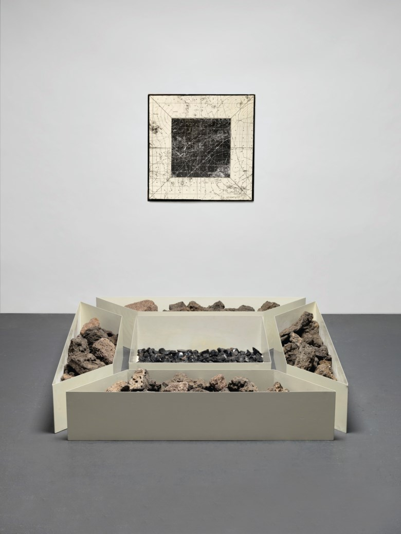 Robert Smithson (1938-1973), Double Nonsite, California and Nevada, 1968-1969. Floor installation dimensions 71 x 71 x 12  in (180.3 x 180.3 x 30.5  cm). Estimate $800,000-1,200,000. Offered in Post-War and Contemporary Art Evening Sale on 15 May 2019 at Christie's in New York