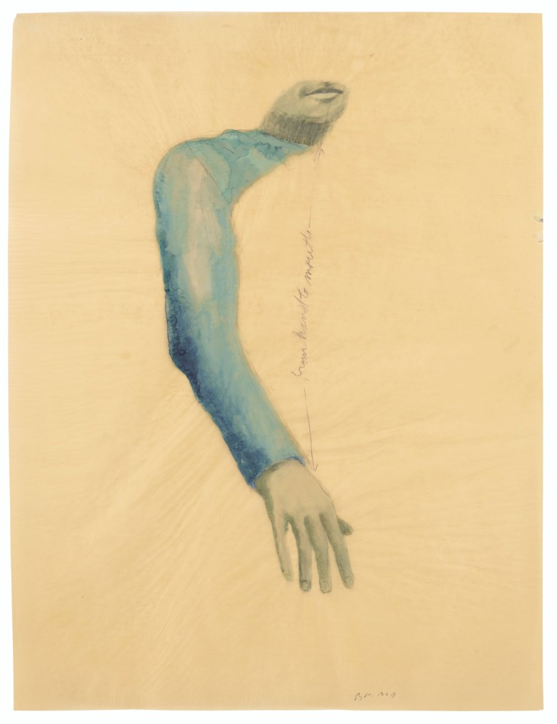 Bruce Nauman (b. 1941), From Hand to Mouth, executed in 1967. 35⅜ x 26¾  in (89.8 x 68  cm). Estimate $700,000-1,000,000. Offered in Post-War and Contemporary Art Evening Sale on 15 May 2019 at Christie's in New York