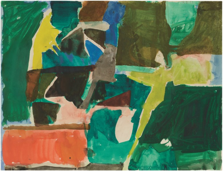 Richard Diebenkorn (1922-1993), Untitled, 1952. Watercolour and gouache on paper. 14⅜ x 18¾  in (36.5 x 47.6  cm). Estimate $150,000-200,000. Offered in Post-War and Contemporary Art Morning Session on 16 May 2019 at Christie's in New York