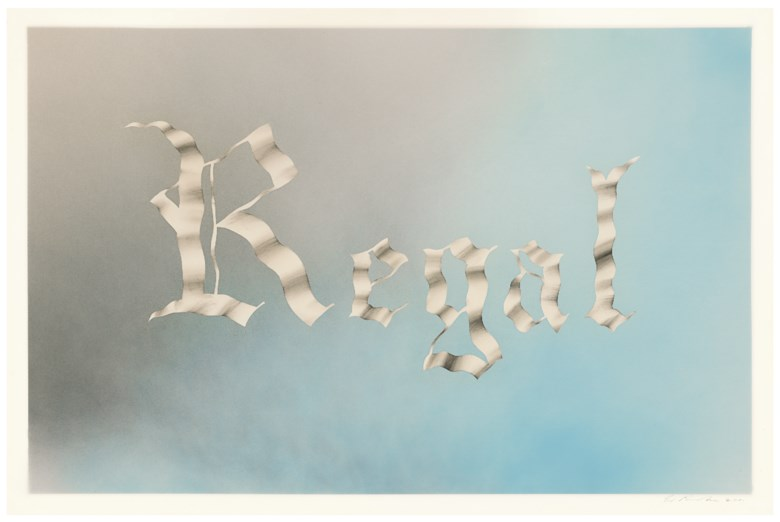 Ed Ruscha (b. 1937), Regal, 2001. Sheet 40⅛ x 60  in (101.9 x 152.4  cm). Estimate $500,000-700,000. Offered in Post-War and Contemporary Art Morning Session on 16 May 2019 at Christie's in New York