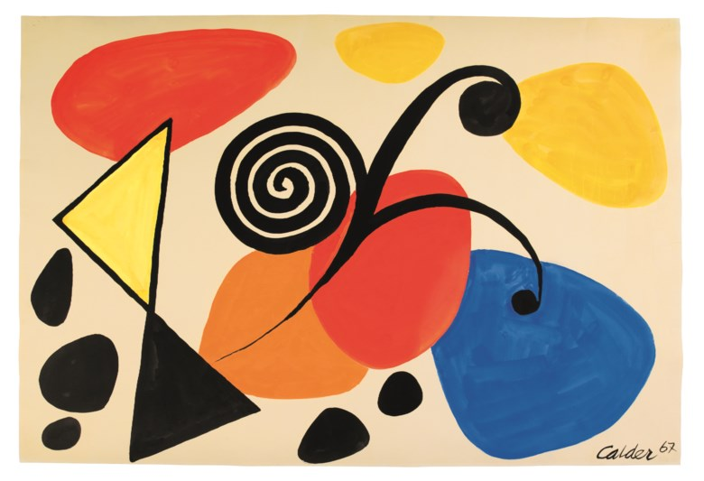 Alexander Calder (1898-1976), Untitled, 1967. Gouache and ink on paper. 29 x 42 ¾  in (73.7 x 108.6  cm). Estimate $30,000-50,000. Offered in Post-War and Contemporary Art Morning Session on 16 May 2019 at Christie's in New York