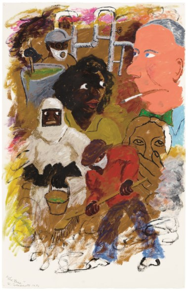 Robert Colescott (1925-2009), The Boss (1990). Acrylic on paper. 40⅜ x 26  in (102.6 x 66  cm). Estimate $50,000-70,000. Offered in Post-War and Contemporary Art Afternoon Session on 16 May 2019 at Christie's in New York