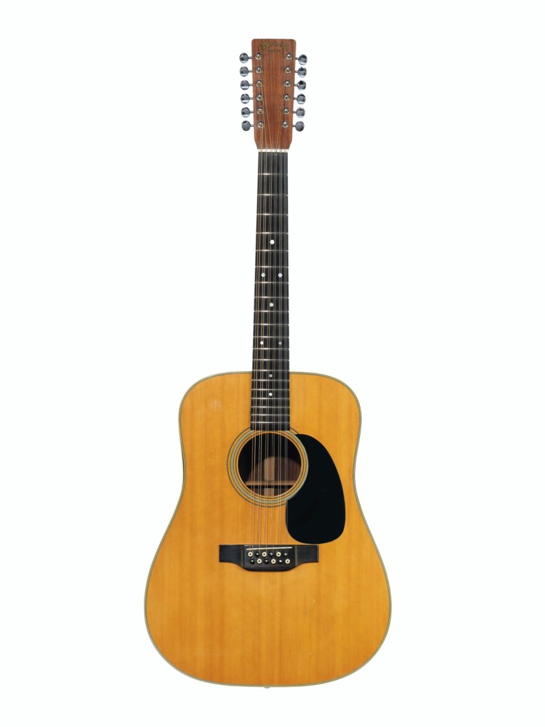 C.F. Martin & Company, Nazareth, 1971. An acoustic guitar, D12-28. Estimate $5,000-10,000. Offered in The David Gilmour Guitar Collection on 20 June 2019 at Christie's in New York