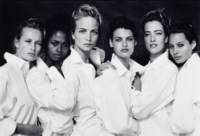 Estelle Lefébure, Karen Alexander, Rachel Williams, Linda Evangelista, Tatjana Patitz, Christy Turlington, Santa Monica, California, 1988