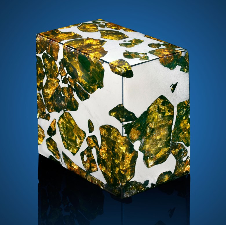 Fukang meteorite — rectilinear section of the most beautiful extraterrestrial substance known, Pallasite-PAL, Fukang, Xinjiang Uyghur Autonomous Region. 64 x 64 x 42 mm (2.5 x 2.5 x 1.66 in). Estimate $25,000-35,000. Offered in  The Moon and Beyond Meteorites from the Stifler Collection, 11-19 July 2019, Online