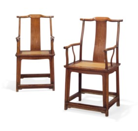 A PAIR OF HUANGHUALI 'OFFICIAL'S HAT' ARMCHAIRS, GUANMAOYI