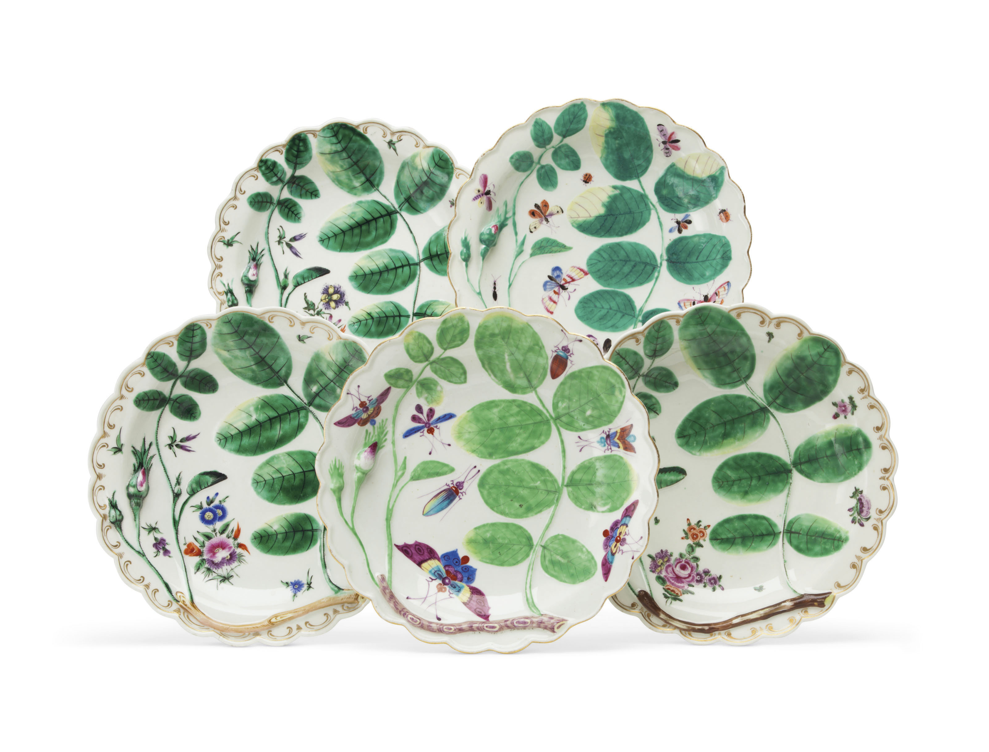 Five Worcester porcelain 'Blind Earl' plates, circa 1770. 7½ in (19  cm) diameter. Sold for $13,750 on 16 January 2019 at Christie's in New York
