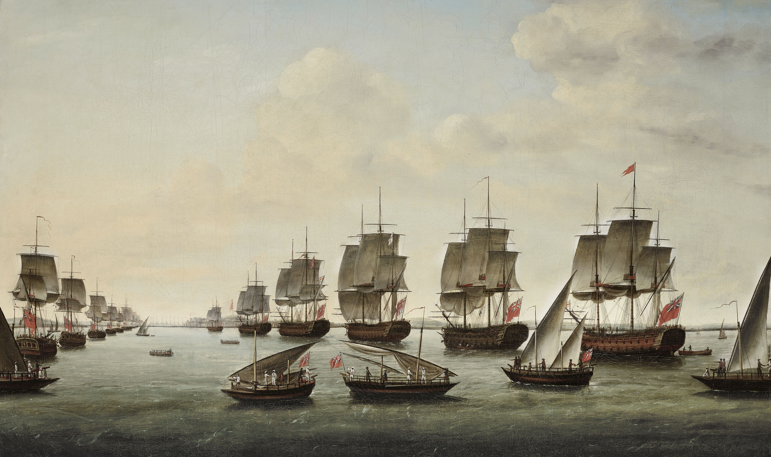 The fleet, under the command of Rear-Admiral Charles Watson and Commodore William James, approaching Geriah on 12 February 1756 for the final showdown with the pirate Tulagee Angria