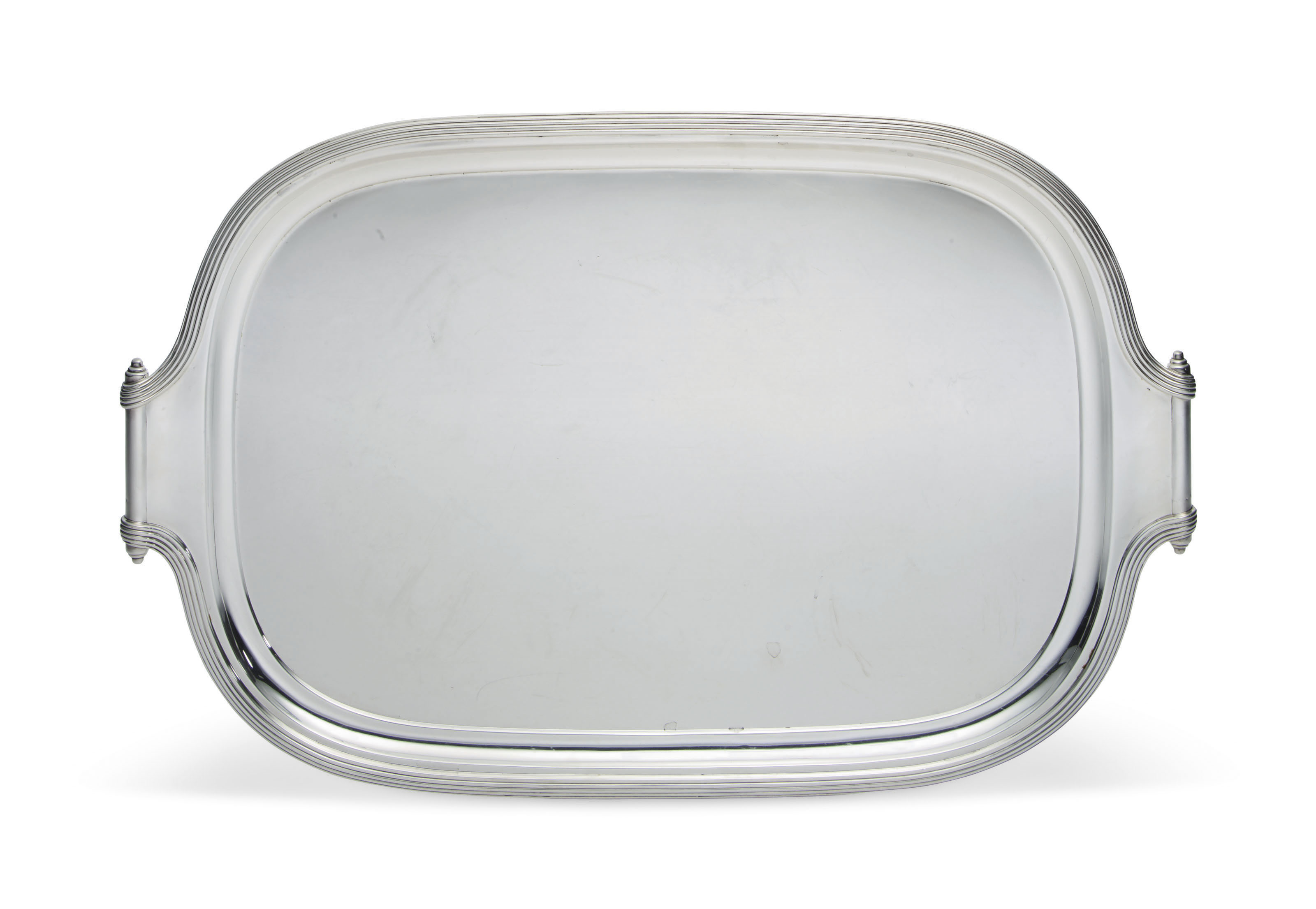 A GEORGE V SILVER TWO-HANDLED TRAY
