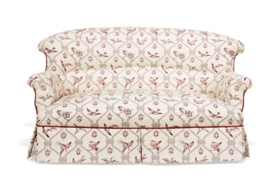 A VICTORIAN UPHOLSTERED TWO-SE