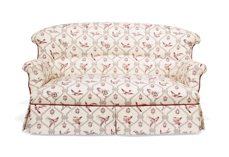 And afterwards, reimagined with a modern bird-print fabric. A Victorian upholstered two-seat sofa, 19th century. 60  in (152.4  cm) wide. Estimate $1,000-1,500. This lot is offered in Little Cassiobury The Collection of Susan Lyall on 16 January 2019 at Christie's in New York