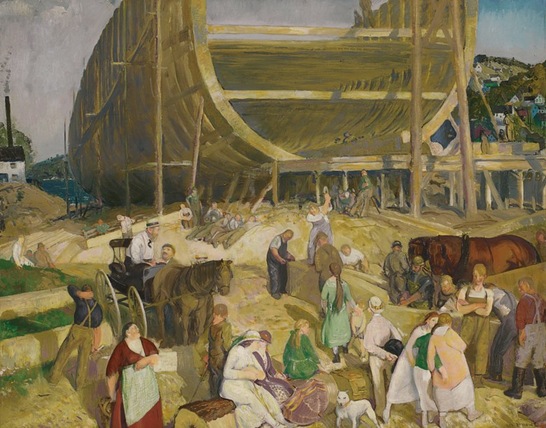 George Wesley Bellows (1882-1925), Shipyard Society, painted in 1916. Oil on panel. 30 x 38  in (76.2 x 96.5  cm). Estimate $4,000,000-6,000,000. This lot is offered in American Art on 22 May 2019 at Christie's in New York