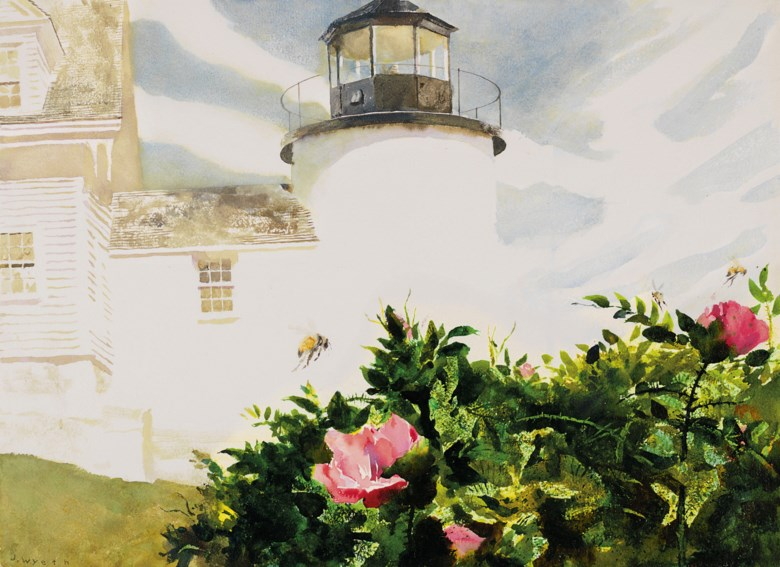 Jamie Wyeth (b. 1946), Rosa Rugosa, executed in 1993. Watercolour and pencil on paper. 20½ x 28 in (52.1 x 71.1  cm). Estimate $70,000-100,000. Offered in American Art on 22 May 2019 at Christie's in New York