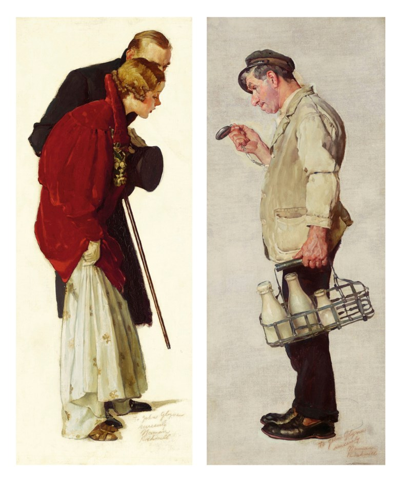 Norman Rockwell (1894-1978), Studies for 'Couple with Milkman' A Pair of Works, 1935. Oil on canvas. Each, 32 x 13 in (81.3 x 33 cm). Estimate $120,000-180,000. Offered in American Art on 22 May 2019 at Christie's in New York