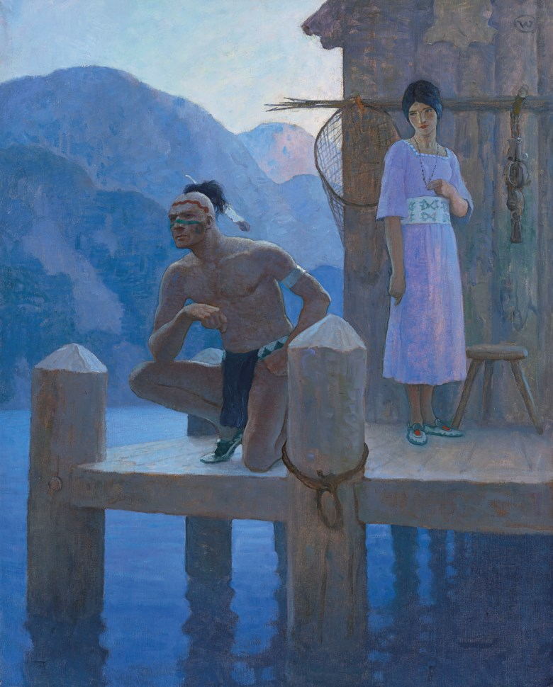 Newell Convers Wyeth (1882-1945), 'She found Chingachgook studying the shores of the lake, the mountains, and the heavens...', 1925. Oil on canvas. 40¼ x 32  in (102.2 x 81.3  cm). Estimate $700,000-1,000,000. Offered in American Art on 22 May 2019 at Christie's in New York