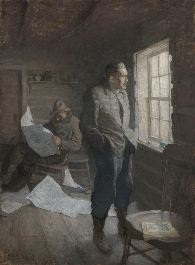 Newell Convers Wyeth (1882-1945), 'There fell a long silence through which OHara read and Kenyon kept watch at the window', 1911. Oil on canvas. 34 x 25  in (86.4 x 63.5  cm). Estimate $200,000-300,000. Offered in American Art on 22 May 2019 at Christie's in New York