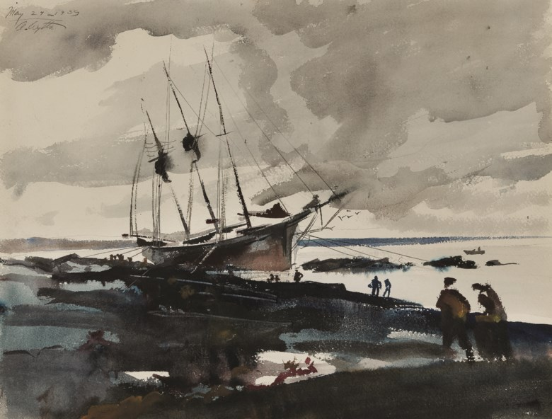 Andrew Wyeth (1917-2009), Three Master Aground, executed in 1939. Watercolour and pencil on paper. 15 x 19¾ in (38.1 x 50.2 cm). Estimate $50,000-70,000. Offered in  American Art Online, 15-22 May 2019, Online