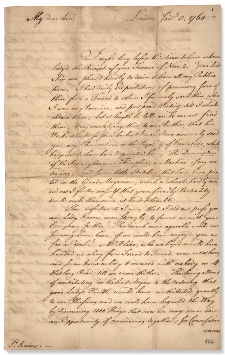 Franklin, Benjamin (1706-1790). Autograph letter signed ('B. Franklin') to Henry Home, Lord Kames, London, 3 January 1760. Franklin on the British conquest of Canada 'No one can rejoice more sincerely than I do on the Reduction of Canada'. Estimate $40,000-60,000. This lot is offered in Fine Printed Books & Manuscripts Including Americana on 12 June 2019 at