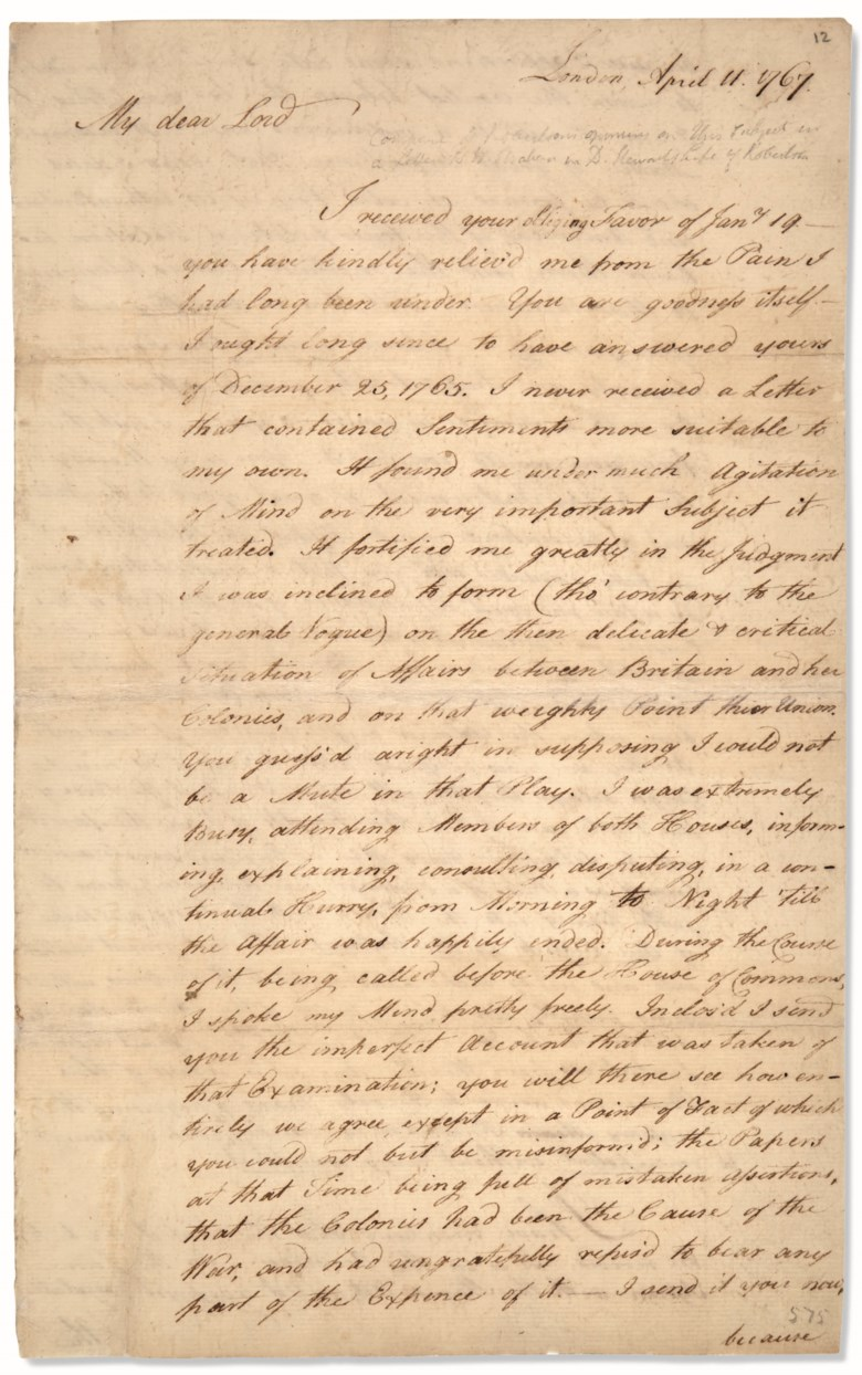 Franklin, Benjamin (1706-1790). Letter signed ('B. Franklin') to Henry Home, Lord Kames ('My Dear Lord'), London 11 April 1767.Benjamin Franklin on the escalating conflict between Great Britain and her North American colonies. Estimate $60,000-80,000. This lot is offered in Fine Printed Books & Manuscripts Including Americana on 12 June 2019 at Christie's in