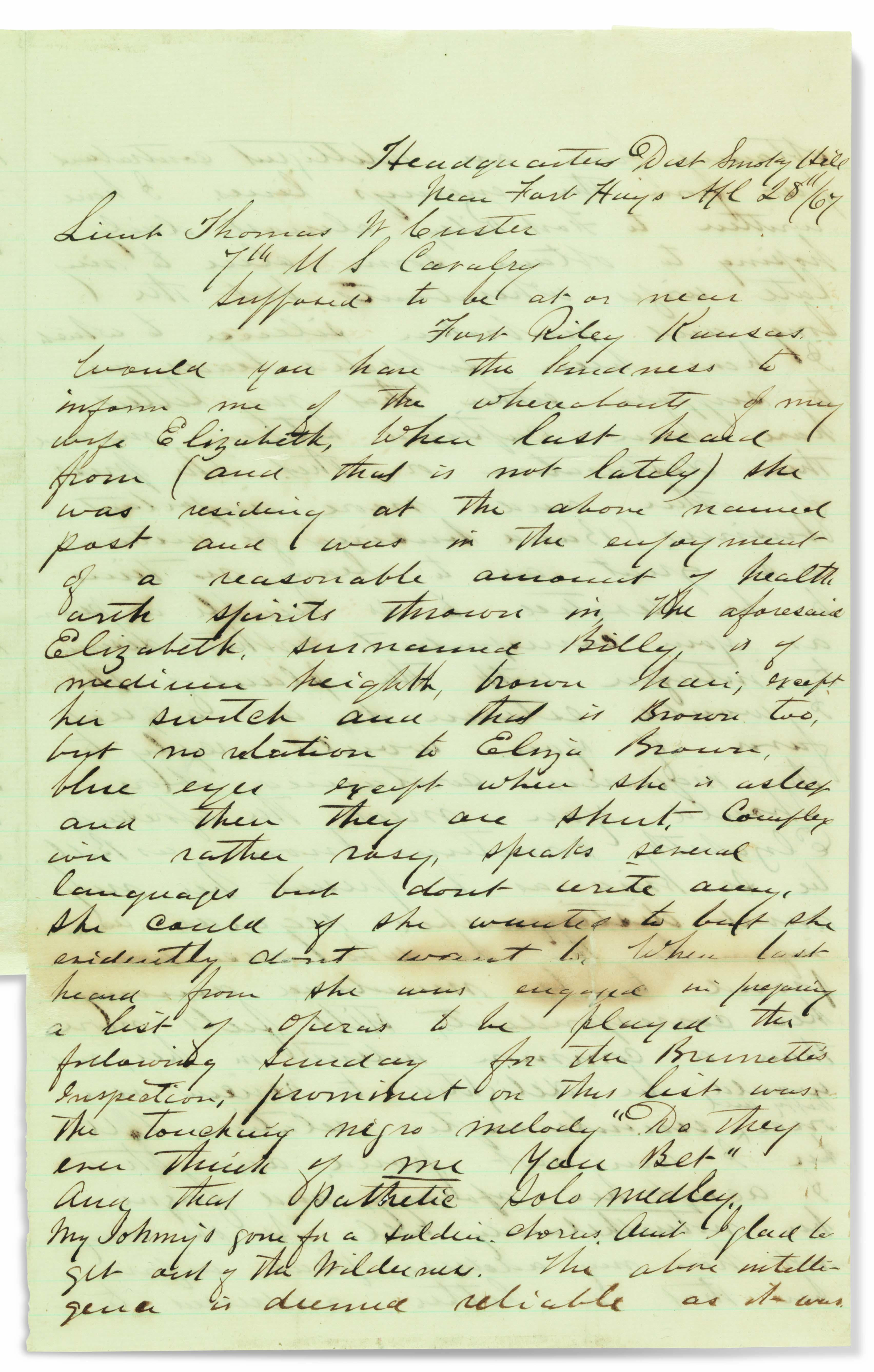 CUSTER, George Armstrong (1839-1876). Autograph letter signed (''G. A...