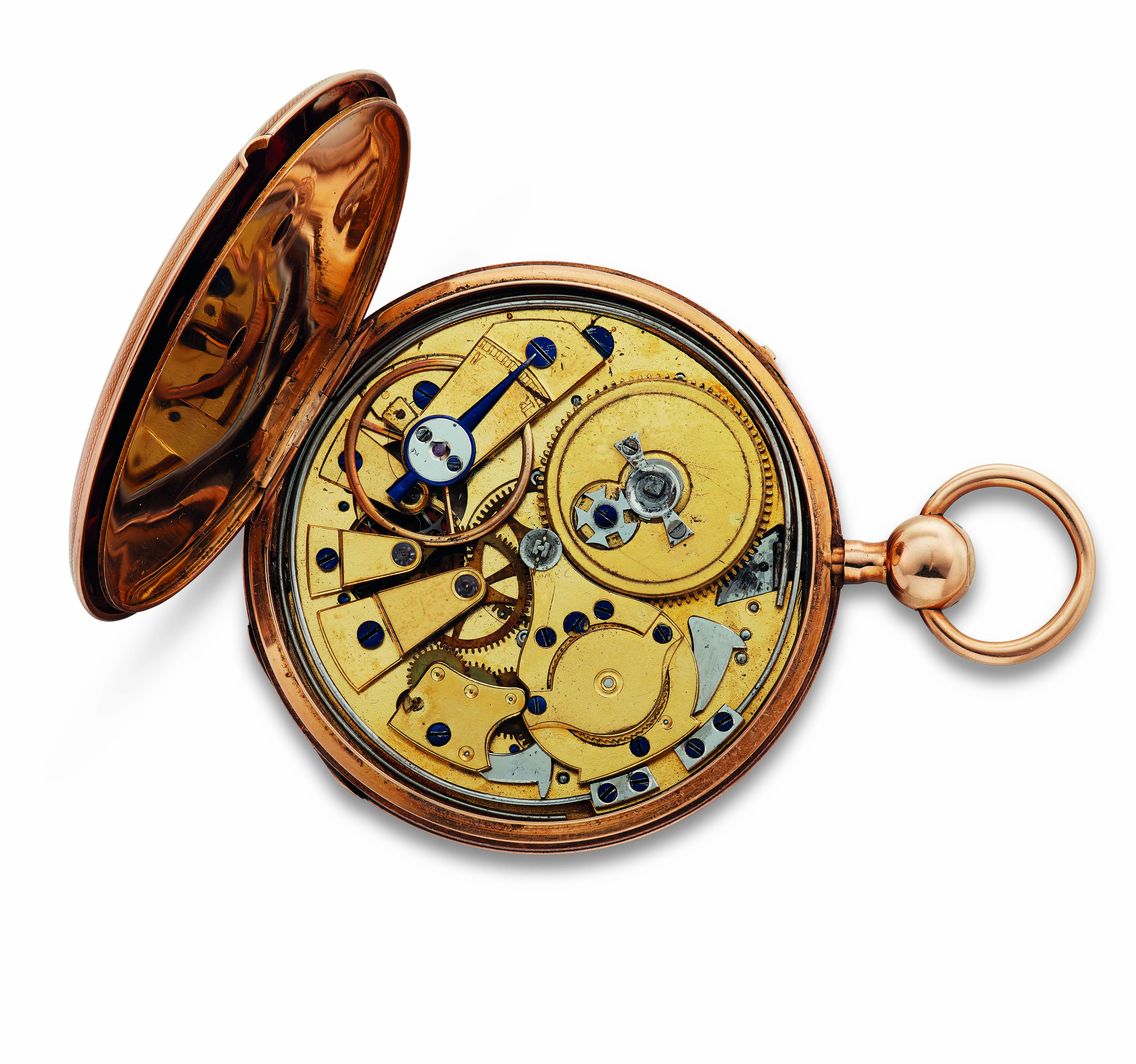 """POE, Edgar Allan (1809-1849) – French. An 18k gold key-wound quarter repeating open-face pocket watch with metal guilloche dial Roman hour markers and spade hands. The cuvet (dust-cover) is engraved, """"Echappement A Cylindre En – Aiguilley – Edgar A. Poe – Pierre Huit Trous En Rubis."""" The inside case-back cover is engraved with the case number 21705. The case is 51mm."""