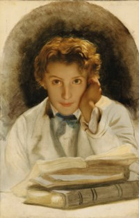 Portrait of Joseph-Carle-Paul-Horace Delaroche, Son of the Artist, Half-Length with a Pile of Books