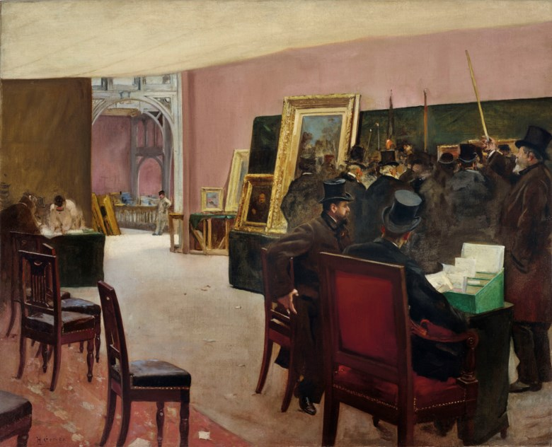Henri Gervex (1852-1929), Une séance du jury de peinture — étude. 25¾ in x 32  in (65.4 x 81.3  cm). Estimate $300,000-500,000. Offered in European Art on 30 April 2019 at Christie's in New York