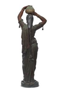 Torchère femme indienne portant un vase sur la tête