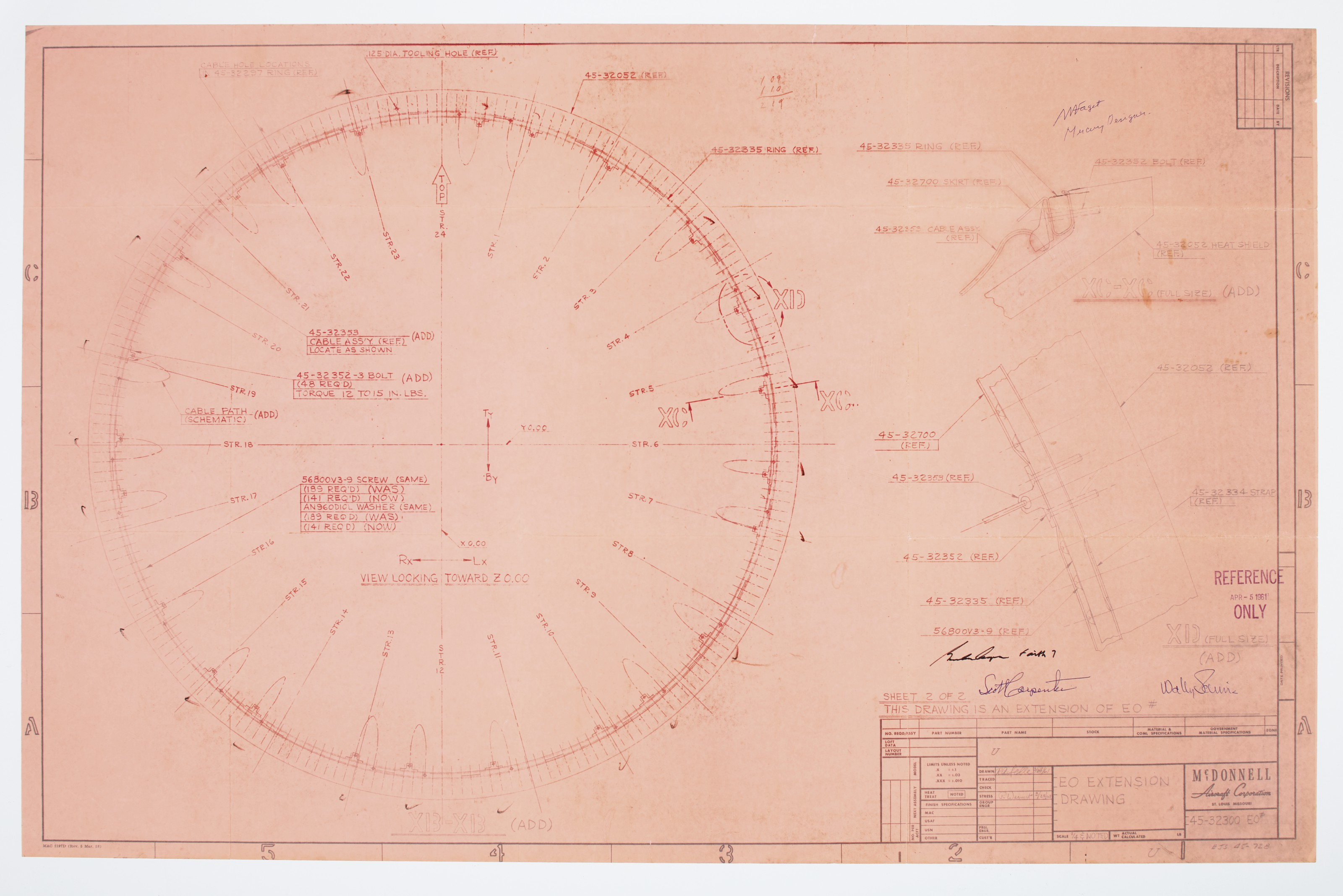 MERCURY HEAT SHIELD – E. O. Extension Drawing . St. Louis: McDonnell...