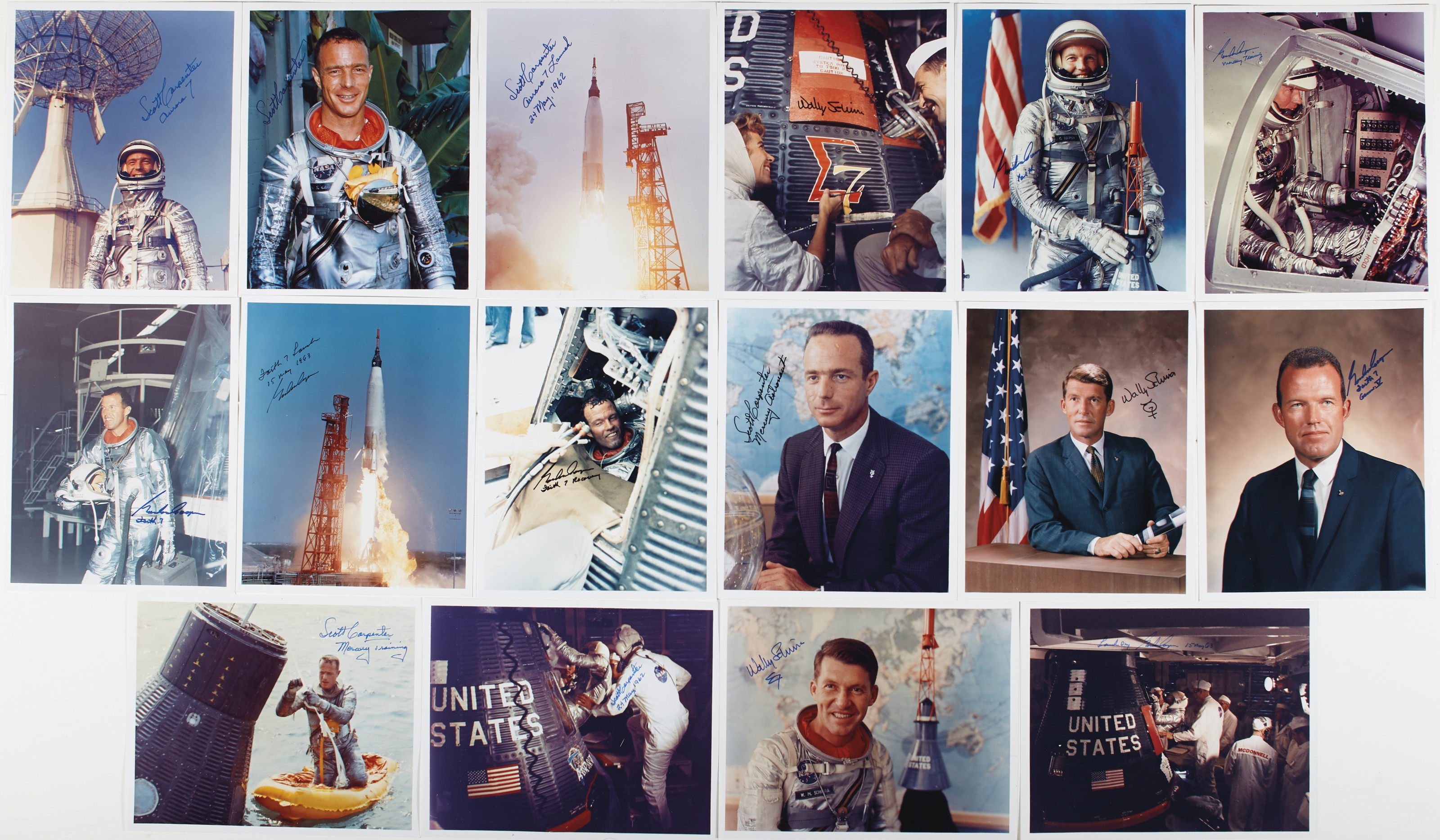 MERCURY COLOR PHOTOGRAPH COLLECTION. 16 photographs, each signed by the...
