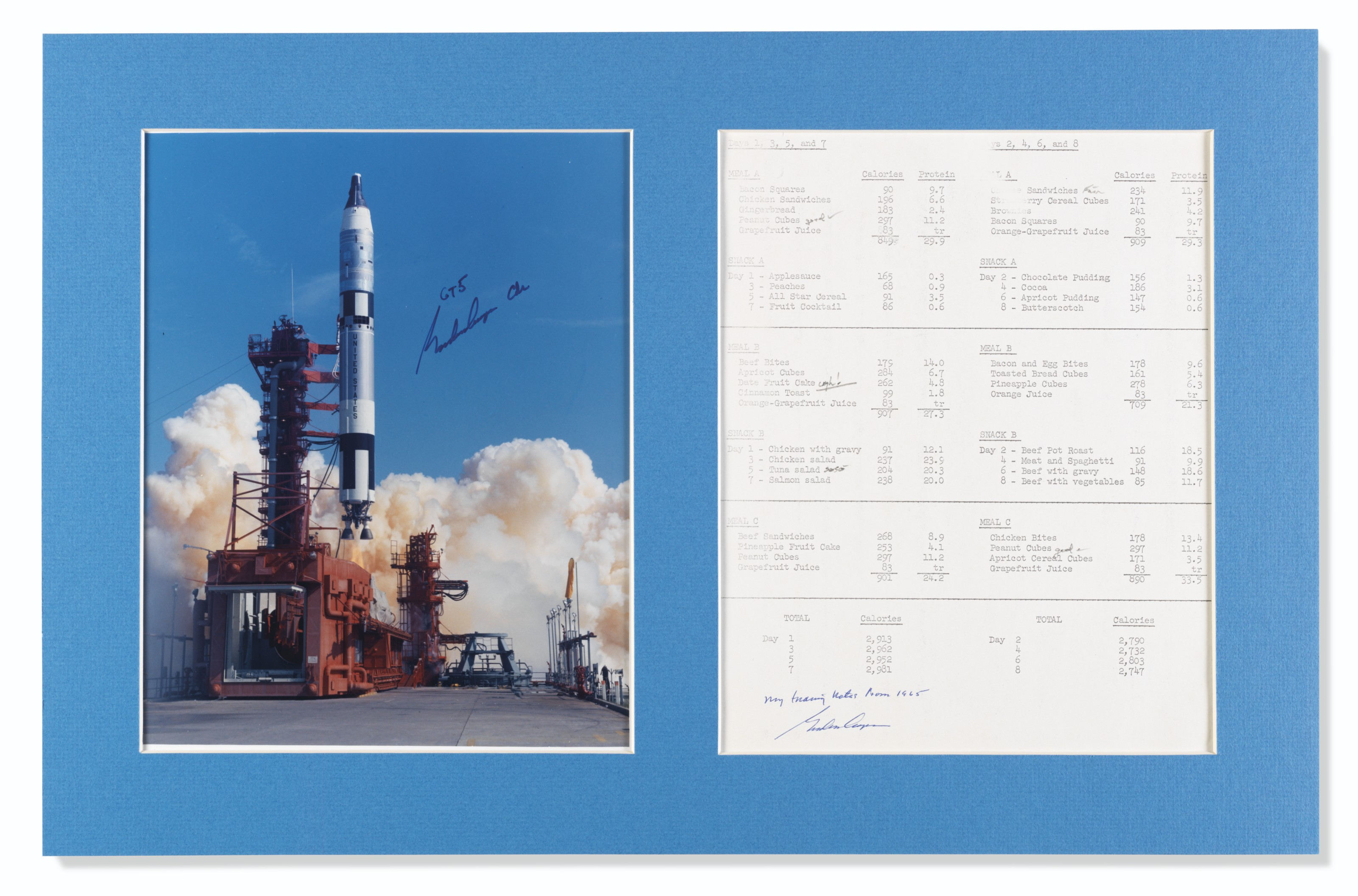 GEMINI 5 TRAINING NOTES – Annotated meal schedule, 1965.