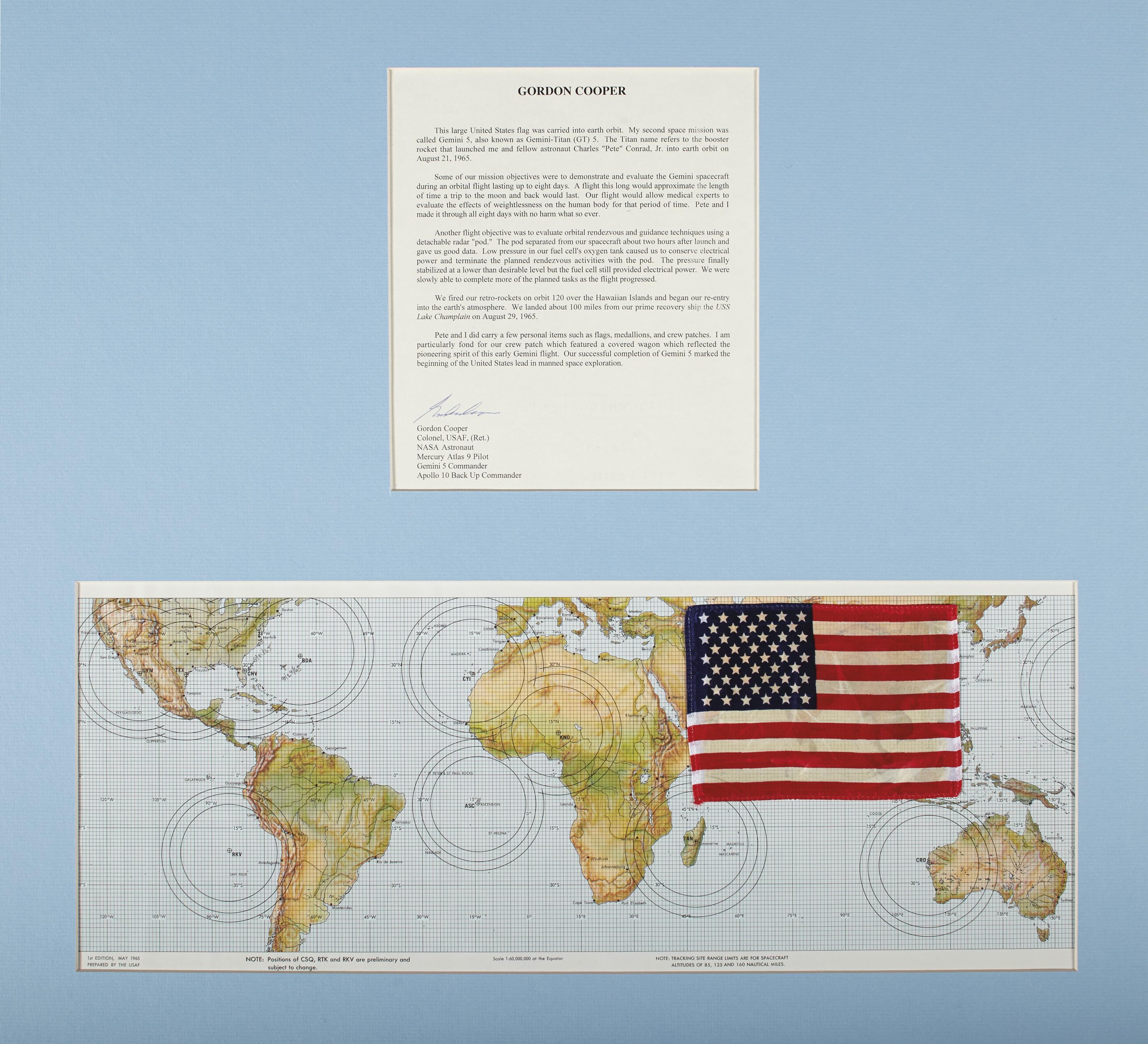 FLOWN ON GEMINI 5 – United States flag, 1965.