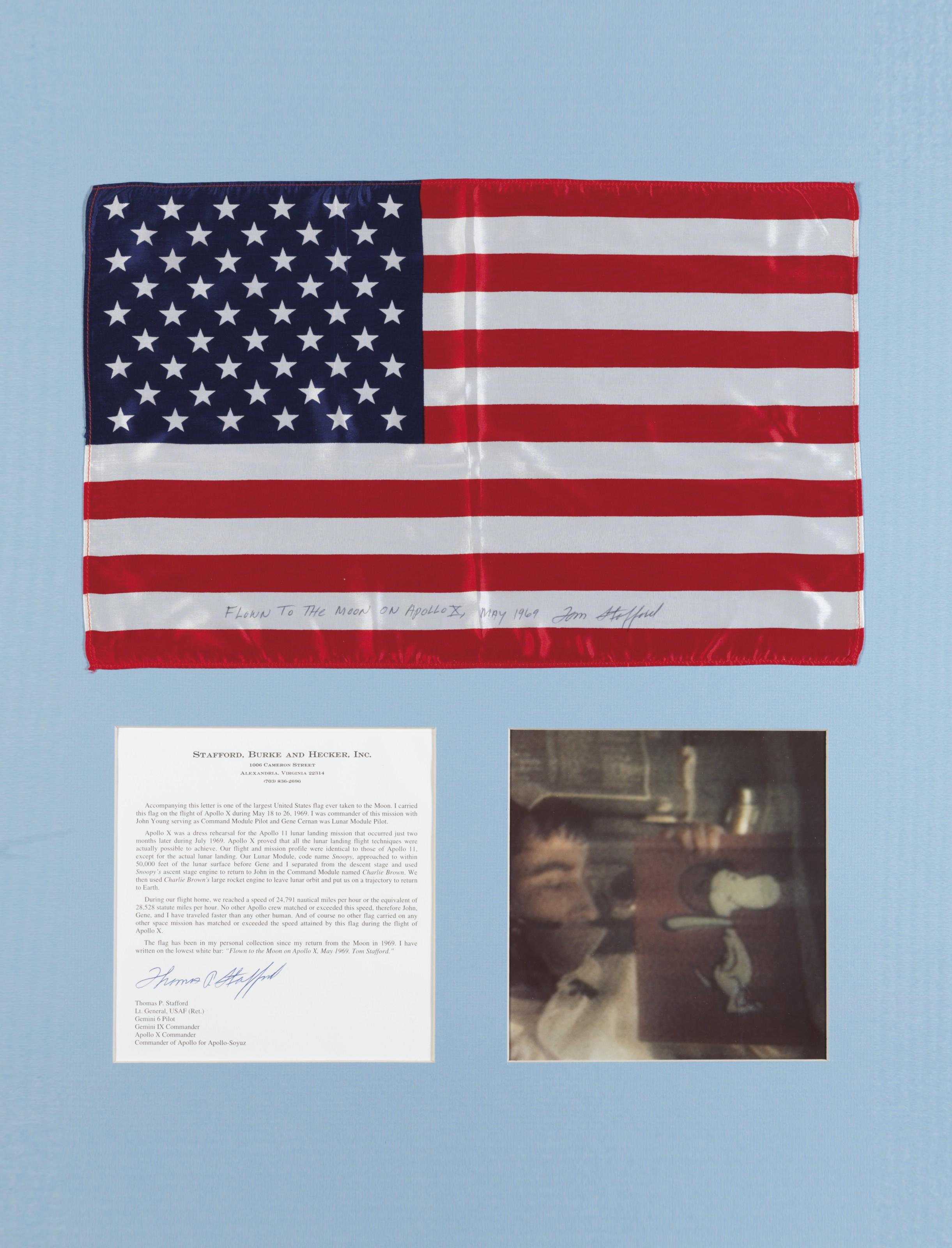 FLOWN ON APOLLO 10 – Large United States flag.