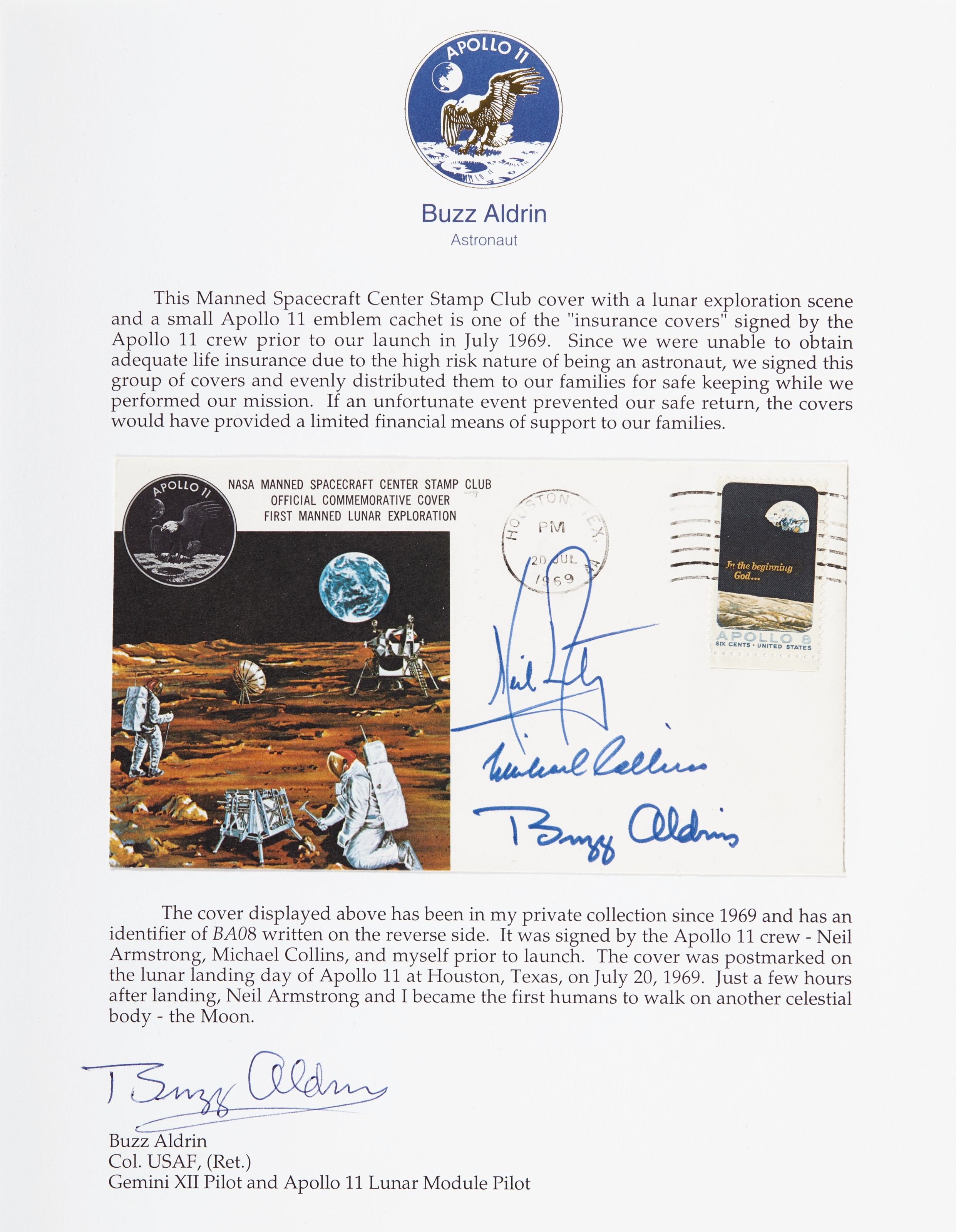 APOLLO 11 CREW INSURANCE COVER – Postal envelope signed. Postmarked...