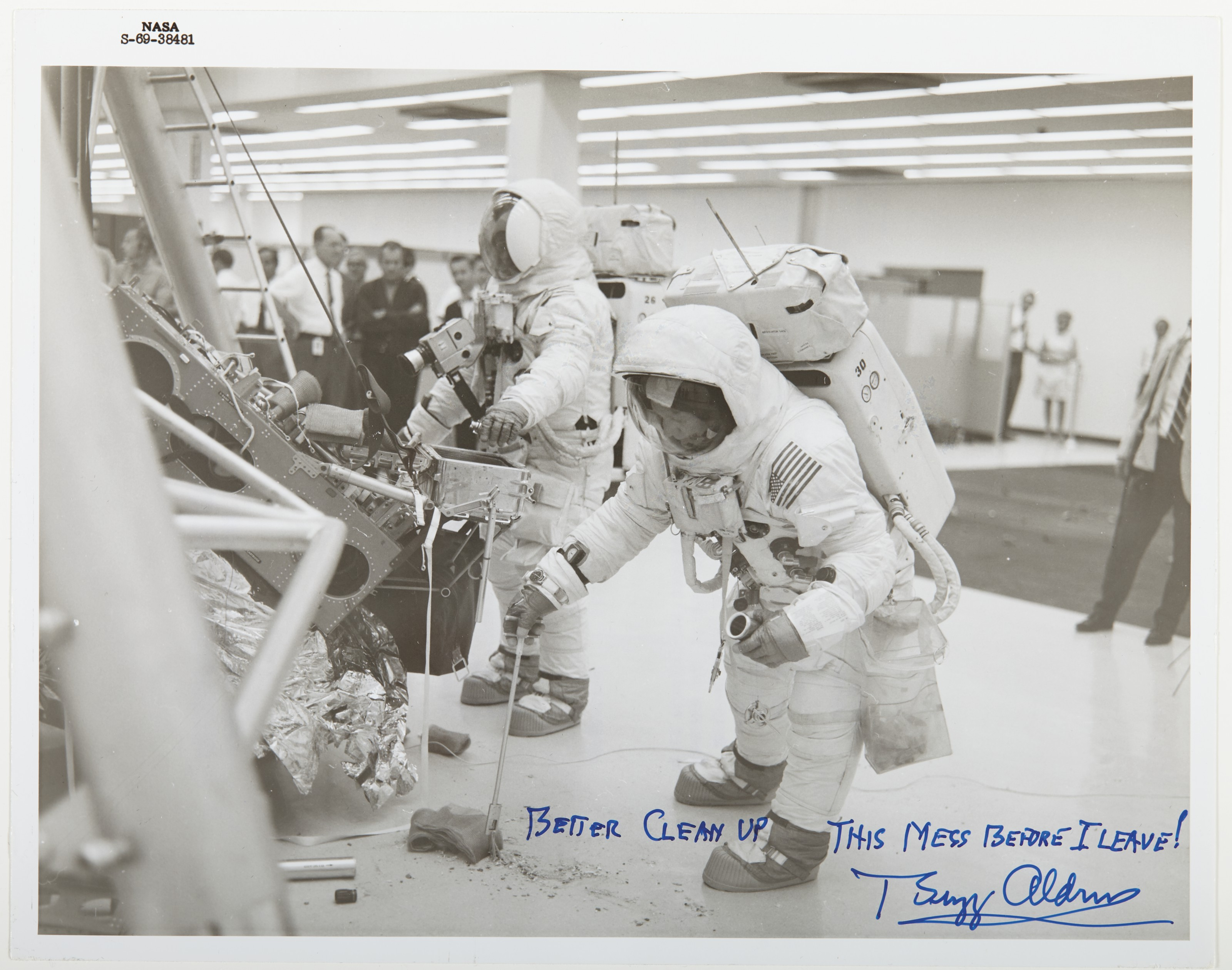 ALDRIN, Buzz (b. 1930). Photograph signed. Kennedy Space Center, 18 June 1969.