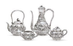 A JAPANESE EXPORT SILVER FOUR-PIECE TEA AND COFFEE SERVICE
