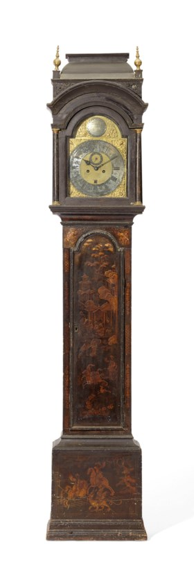 A GEORGE II BLACK AND GILT-JAPANNED TALL-CASE CLOCK