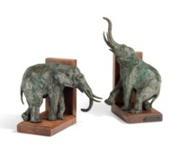 'Elephants' bookends, a pair