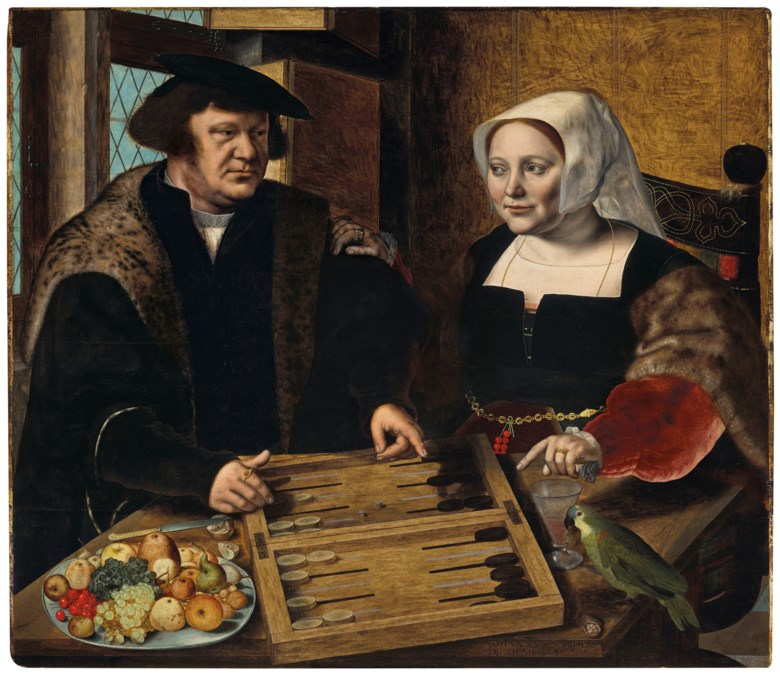 Jan Sanders van Hemessen (c. 1504-1556) Double portrait of husband and wife, half-length, seated at a table, playing tables, 1532. Oil on panel. 43¾ x 50⅜ in (111.1 x 127.9 cm). Sold for $10,036,000on 1 May 2019 at Christie's in New York
