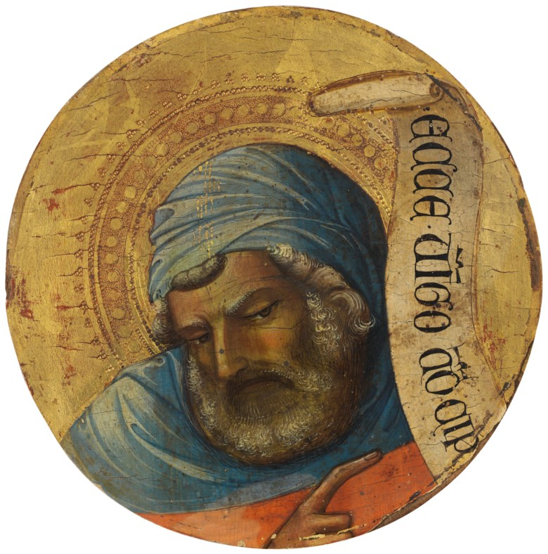 Lorenzo Monaco (1370-1425), The Prophet Isaiah. Tempera on panel. 7¾ in diameter (19.7 cm diameter). Estimate $1,500,000-2,500,000.  Offered in Old Masters on 1 May at Christie's in New York