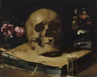 A vanitas still life with a skull atop a book, an hourglass and two glass vases of flowers