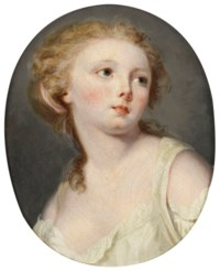 A young woman, bust-length, in a white blouse
