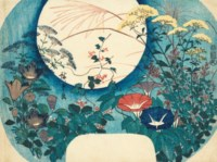 Fan print (uchiwa-e) of Full moon, morning glories and autumn flowers