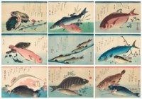 A complete set of the untitled series of large fish (Uozukushi)